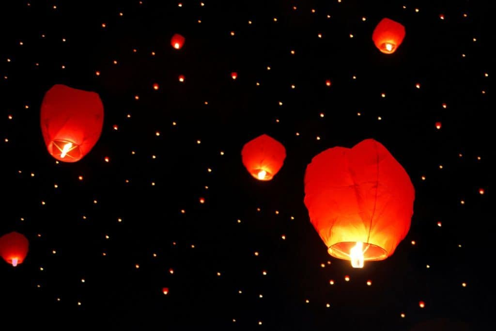 Lu Ban Restaurant Liverpool Experiences - Lanterns floating into the Sky