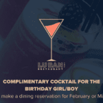 Complimentary cocktail for birthday at Lu Ban